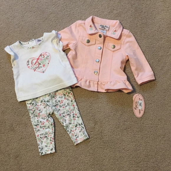 Little Lass Baby 3 Pc Outfit - 3/6 Mos NWT 🌸